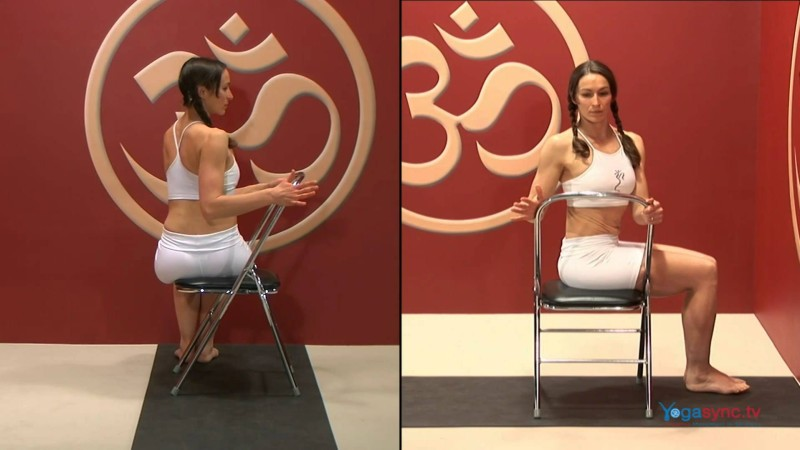 Torso Twist on a Chair – Bharadvajasana
