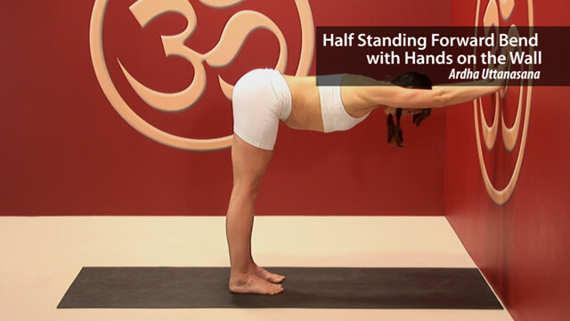 Half Standing Forward Bend with Hands on Wall – Ardha Uttanasana